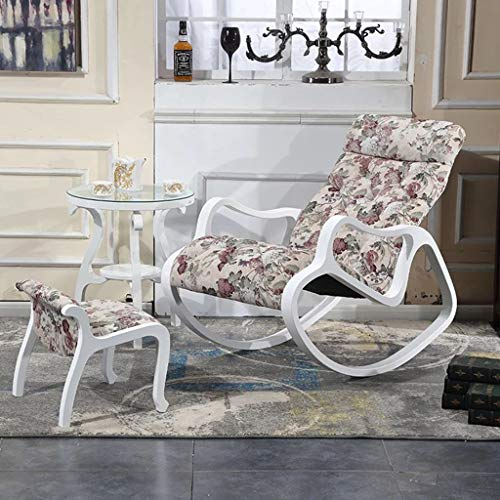 Schaukelstuhl Einzelsofa, Lounge Sessel Aus Massivem Holz Mit Armlehnen Leder/Flanell (Farbe : C)