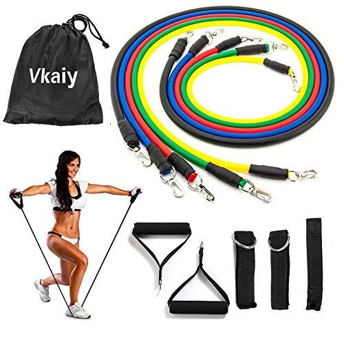 Cuxus set di fasce di resistenza, bande di resistenza, 5 fasce elastiche lattice + maniglie, ancoraggio da porta & gancio per fissaggio, per fitness, crossfit, stretching