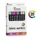 20 Textilmarker Stoffmalstifte von Zenacolor - Nicht Giftige Filzstifte