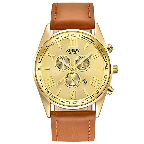 Deloito Herren Luxus Lederband Legierung Fall Sport Uhren Datum analog Legierung Militär Quarzuhren (Braun)