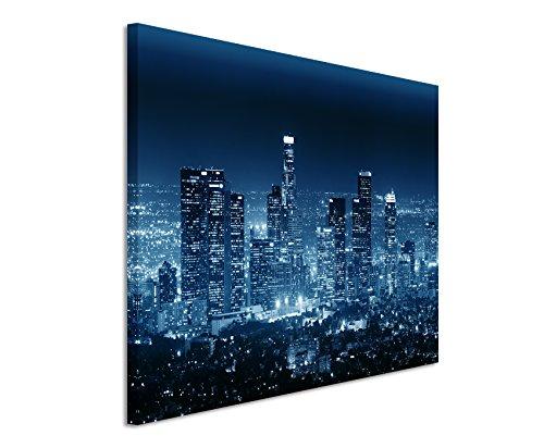 120x80cm Wandbild - Farbe Blau Petrol - Leinwandbild auf Keilrahmen in bester Qualität - Stadt Los Angeles Gebäude Nacht