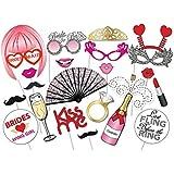 UEETEK 22pcs foto Prop cabina fotografía DIY Kit de fiesta de boda suministros para boda - barba, gafas de labios