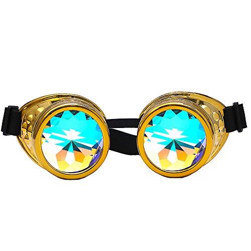 Kaleidoscope Goggles Rainbow Rave Prism Beugung Diffraction Eyewear Regenbogen Linsen Neuheit Sonnenbrille Cosplay Brillen Kaleidoscope Toy (B Gold)