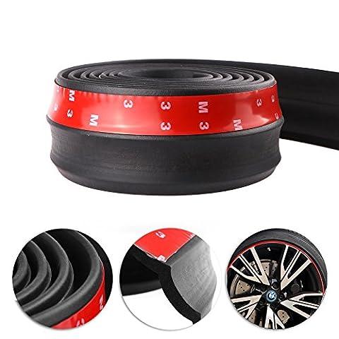 Car Front Bumper, Konesky 2.5m Rubber Protector Lip Splitter Spoiler Chin Lip Skirt Protector, 60mm Width
