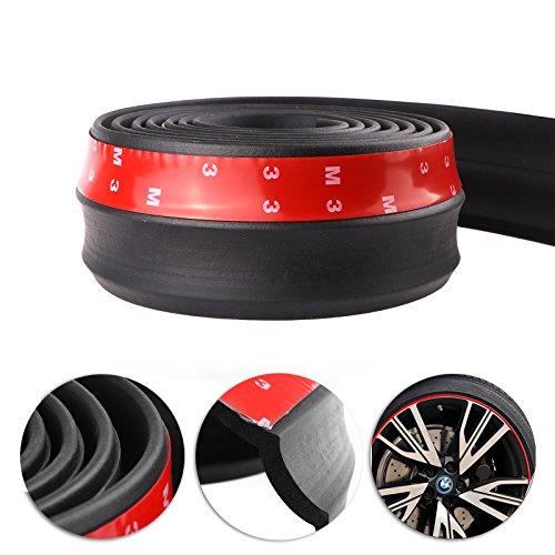 Auto schwarz Front Bumper, Konesky 2.5m Gummi Protector Lip Splitter Spoiler Kinn Lip Rock Protector, 60mm Breite