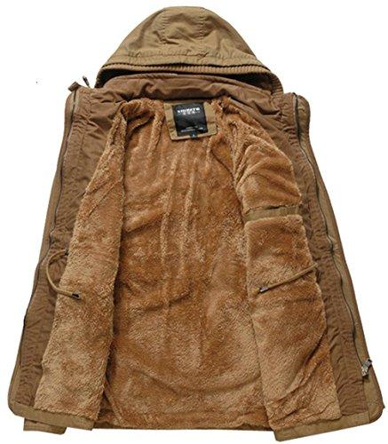 WS668 Herren Baumwolle Military Warm Plus Samt Gefüttert Kapuzenjacke Mantel Khaki