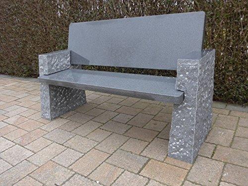 Sitzbank mit Lehne Granitbank Steinbank Gartenmöbel Gartenbank Cayman