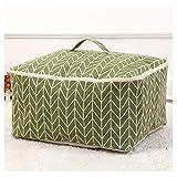 Fieans Faltbare Aufbewahrungsbox Aufbewahrungstasche aus Leinen Tragetasche für Bettdecken 47 x 40 x 22 cm-Green
