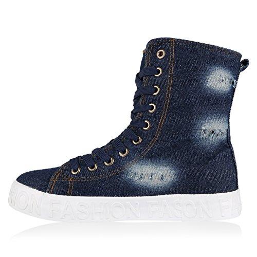 Sapatos Esportes Sapatilhas Azul Top Alta Bota Escuro Senhoras Da Sapatilha Das Denim 77BYq8