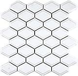 Mosaik Fliese Keramik Diamant Metro weiß glänzend für WAND BAD WC DUSCHE KÜCHE FLIESENSPIEGEL THEKENVERKLEIDUNG BADEWANNENVERKLEIDUNG WB13MD-0101