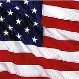 Serviette en Papier Drapeau Amérique 16 Serviettes USA 33 x 33 cm Serviettes de fête draps en Papier déco de Table États-Unis soirée étatsunienne Drap de Table à Motif thème américain