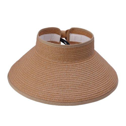 JTC Femmes Hommes Chapeau de Paille/ de Soleil Panama Plage/en Paille Sans Sommet Réglable Pliant 12 Couleurs Café
