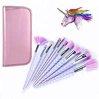 ttrwin® 10pcs Unicorn–Juego de brochas de maquillaje Kit de herramientas de maquillaje en polvo colorete Lip Fundación Sombra de Ojos unicornio Fantasy cepillos con forma de diamante caso