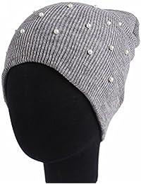 TININNA Mode Tricoté Beanie Hat avec Perle Hiver Oreille Chauffe-chapeau  Casquette de Ski Bonnet 110843f3e7a