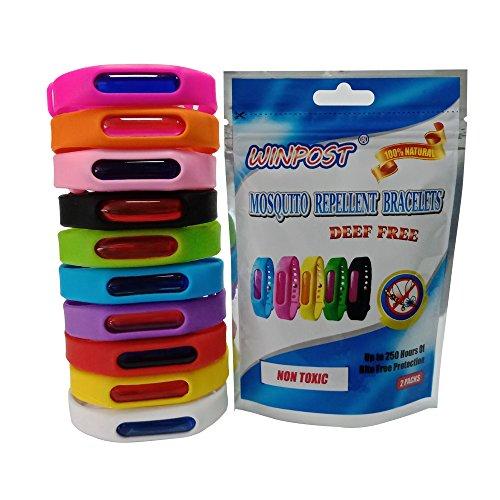 WINPOST 2 Pack Stück Mückenschutz, Anti Moskito, Insektenschutz Armband - Frei von DEET 100% Natürliches Mücken Armband Für Outdoor und Innenschutz (White)
