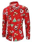 Eghunooye Chemises de Noël Moche pour Hommes, T-Shirts boutonnés à Manches Longues(Rouge (Motif Direction Aléatoire),X-Large)