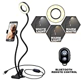 K&F Concept Anillo Luz Selfie con Soporte de Manguera Flexible para móvil para en Vivo Youtube y Maquilla con LED 3 Modelos 10-Level Brillo con Control Remoto para iPhone Android [Regalo de Navidad]