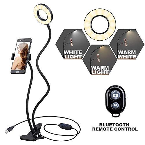 K&F Concept Selfie Ring Light Anneau Lumineux Lampe LED 10-Niveau Luminosité 3-Mode d'Éclairage avec Télécommande Bluetooth pour Le Flux en Direct et Le Maquillage pour Mobile