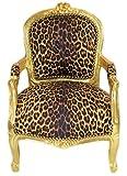 Casa Padrino Barock Kinder Stuhl Leopard/Gold - Armlehnstuhl - Antik Stil Möbel