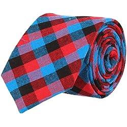 Mr Icone Estrecho Lazo Corbata de tela escocesa Azul Marina Rojo