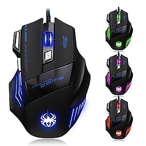 [Neue Version] Gaming Maus, Zelotes 7200 dpi 7 Tasten LED optische USB Wired Gamer Maus,Gaming Mäuse Mouse für PC MAC