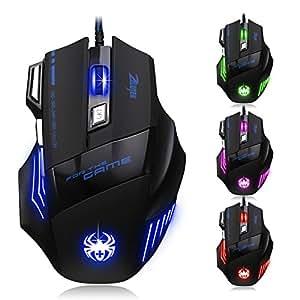 [T80Neue Version] Dland Zelotes Professionelle optische LED-Maus mit 7.200dpi, 7Tasten und USB-Kabel, für Gamer – verstellbarer dpi-Schalter 7.200 / 3.200 / 2.400 / 1.600 / 1.000 dpi für Pro-Game-Notebook-Computer