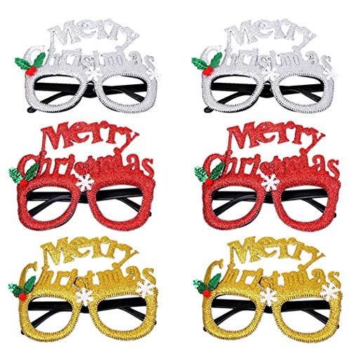 Weihnachten Für Paare Kostüm - FunPa 6 Paare Kinder Party Brille Brief Dekor Gläser Kostüm Brille für Weihnachten