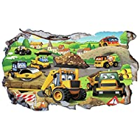 Chicbanners My First JCB Digger Diggers 3D Wall Crack V106 3D Wall Smash Magic Window Wall Sticker Self Adhesive Poster Wall Art size 1000mm wide x 600mm deep (large)