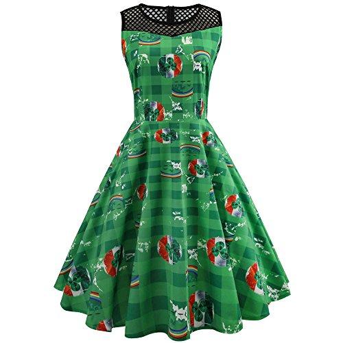 Klee-Print Mesh Spleißen ärmelloses Kleid grün M, Malloom -