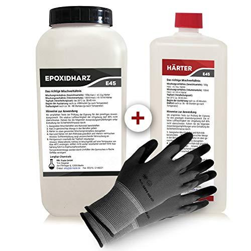 Epoxidharz mit Härter | 3,25kg GfK set | Profi Qualität glasklar & geruchsarm | Gießharz für Holz + Schutzhandschuhe - Klar, Cast
