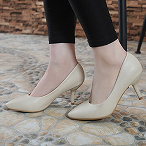 Moderne Femme dans le printemps et été court Tige Semelle Caoutchouc antidérapant pointe de Stiletto Slip On Ascenseur Uni Chaussures Décontracté Confortable Pumps - Aprikose