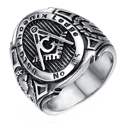 HAMANY Schmuck Edelstahl Herren Ring Freimaurer Freimaurer Retro,Schwarzes Silber,Größen 62 (19.7) (Herren Schwarz Titan Freimaurer-ring)