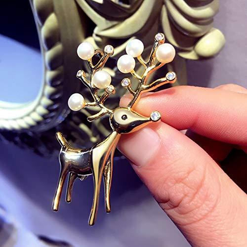 Hirsch Brosche Mode Sikawild Perle Brosche mit Zubehör Pin Pullover Mantel Schal Schnalle Kleidung, 2K Gold