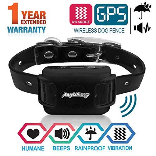 AngelaKerry Drahtloser Hundezaun Enthalten System für 850YD Fernbedienung Reichweite, mit GPS Halsband, Vibration & Ton (Schwarz) 850 System