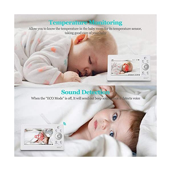 """iLifeSmart 720P Wireless Video Baby Monitor with 5"""" HD LCD Digital Screen, Two Way Audio and Baby Lullabies, Sound & Temperature Alert, Low Battery & Out of Range Alarm, Night Vision iLifeSmart 【5"""" Large LCD Screen Monitor 】 iLifeSmart baby monitor is equipped with super large 5 inch full color HD LCD screen with 1280 x 720 resolution, which can offer you a clear and vivid real-time view.5"""" Large Rechargeable Color LCD Monitor : iLifeSmart baby monitor is equipped with super large 5 inch full color HD LCD screen with 1280 x 720 resolution, which can offer you a clear and vivid real-time view. 【Sound Detection and Temerature Monitoring】The baby monitor can be at the sleep mode then activated by sound.The temperature monitoring function can help you build a cosy environment for your baby. 【Pan and Tilt Function】You can press the button on the baby monitor to see your baby closer and clearly. 7"""