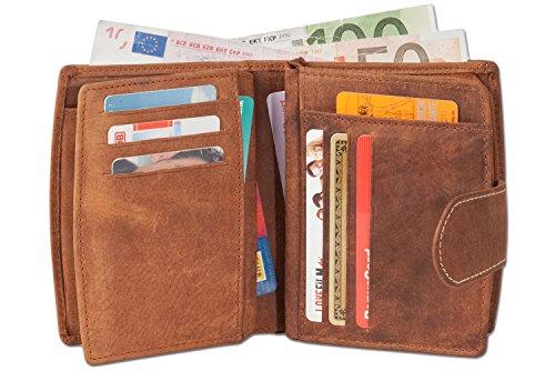 Woodland - lusso Compact Portafoglio donna con un sacco di tasche per le carte di credito in pelle di bufalo naturale Beige