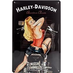 Nostalgic-Art Harley Davidson Biker Babe - Placa Decorativa, Metal, 20 x 30 cm, Color Negro