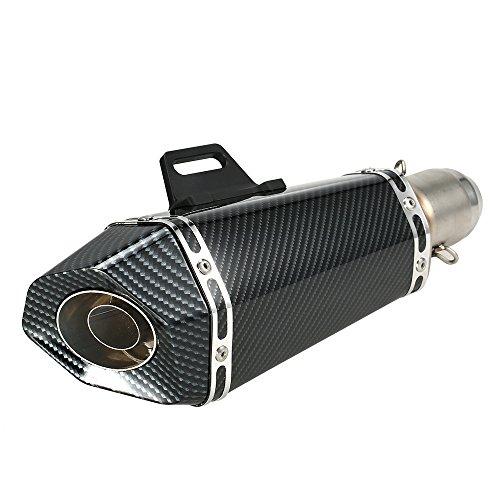 KKmoon Tubo de Escape, 51 mm Reemplace Silenciador de Fibra Carbono Artificial...