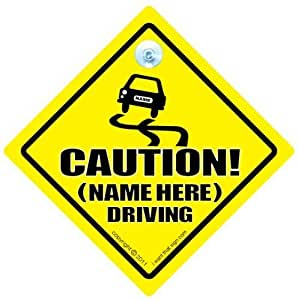 Caution (Add Your Name) Driving Car Sign, Personalised Car On Board Sign, Custom Car Sign, WE'LL ADD ANY NAME, TEXT and IMAGES To Create Your Own Personalised Car Sign, baby on board, Personalised Baby on Board Signs, Personalised Car Signs, Custom Car Signs, Custom Baby On Board Sign, Baby Car Signs, Car Sign, Bumper Sticker, Baby on Board, Automobile Sign, Vehicle Sign, Joke Car Sign, How do you add your stuff? Simple, just order this sign and we will contact you by email