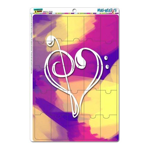 Musik Herz–Love Treble Bass Notenschlüssel Noten Staff Pink Splash Mag-Neato 's-TM) Neuheit Geschenk Locker Kühlschrank Vinyl Puzzle...