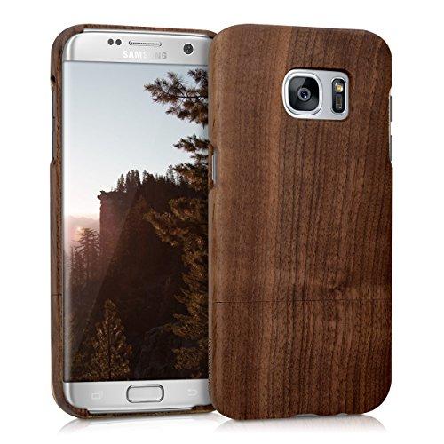 Kwmobile custodia in legno per samsung galaxy s7 edge cover legno naturale legno di noce - case rigida per cellulare marrone scuro
