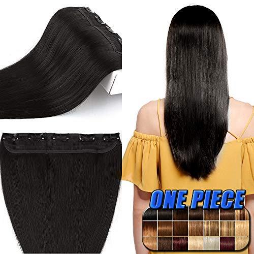 40cm-60cm extension clip capelli veri neri fascia unica 100% remy human hair lisci naturali umani 5 clips larga 25cm lunga 40cm, 45g #1b nero naturale