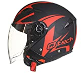 Helm Jethelm Motorrad Rollerhelm Offenes Gesicht Sonnen-Visier - ECE Genehmigt Rot - XL (61-62cm)