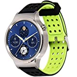 Greatfine 18mm Bracelets de Montres Band Strap de Remplacement Watchband Rechange Bande Huawei Watch W1 / Nokia Health Watch/Huawei Fit/Withings Activite and 18MM Watch Bracelet (BlackYellow)