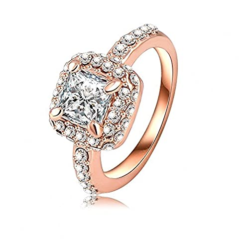 AnaZoz Fashion Jewelry Square Shape Cubic Zircon Wedding Rings For Women 18K Rose Gold Plated Genuine SWA Elements Austrian Crystal Ring 21*10mm Color Rose Gold UK Size P 1/2