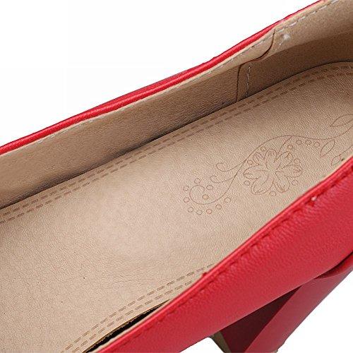 Mee Shoes Damen Blockabsatz inner Plateau runde Pumps Rot