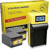 LCD Cargador de Batería + 2x Batería NP-FH90 | NP-FH100 para Sony DCR-DVD | DCR-DVD105E | Sony DCR-HC16E | DCR-HC17E | DCR-HC18E | DCR-HC19E | DCR-HC20E | DCR-HC21 | DCR-HC22E - 24E | Sony HCR-UX7