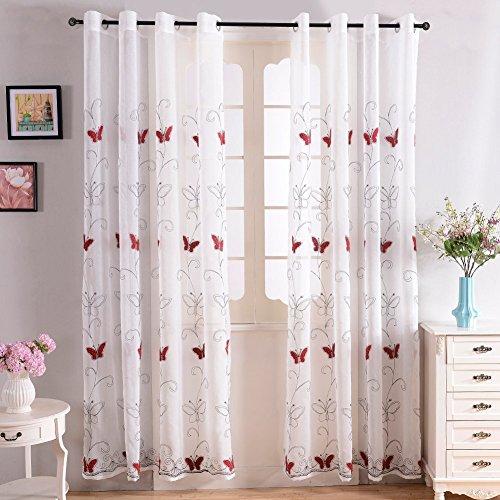 Top finel ricamate farfalla voile tende per case a pannello con occhielli,195 x 245 cm, 1 pezzo, rosso