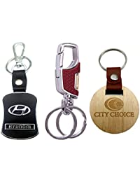 City Choice New Combo Of Hyundai Leather-Metal & 3718 Brown Hook-Locking KeyChains