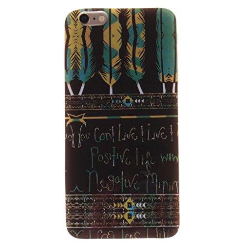 Gift_Source iPhone 6 hülle, iPhone 6S hülle, Weich Schutzhülle Gel TPU Silikon Case Dünnes Etui for Apple iPhone 6S/6 4.7 inch [ Flagge der Vereinigten Staaten von Amerika ] E01-01-Tribal Aztec Feathers